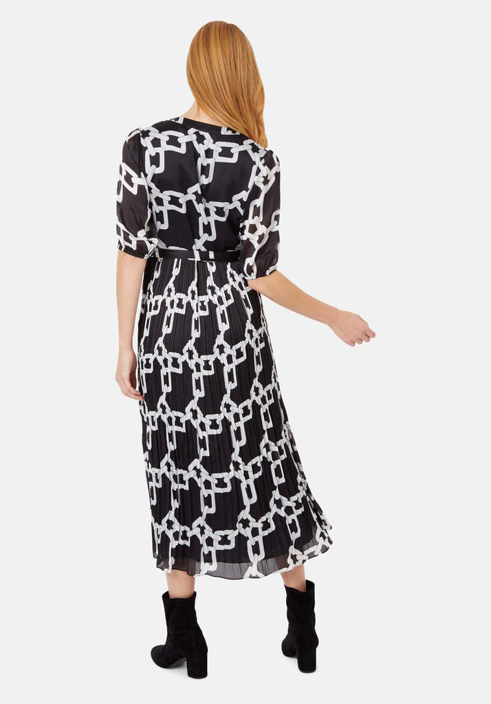 Traffic People Supine Chain Print V-neck Midi Dress in Black Side View Image