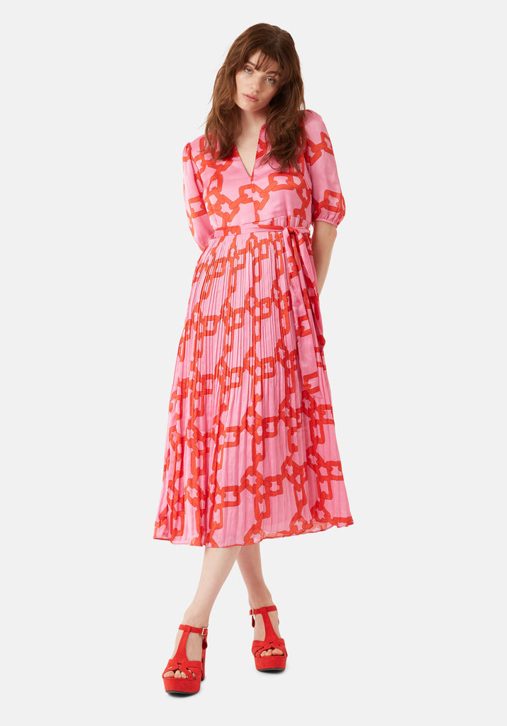 Traffic People Supine Chain Print V-neck Midi Dress in Red Front View Image