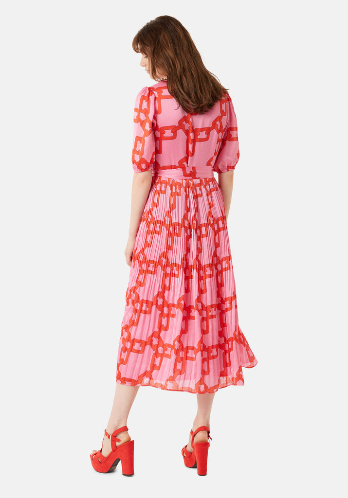 Traffic People Supine Chain Print V-neck Midi Dress in Red Side View Image