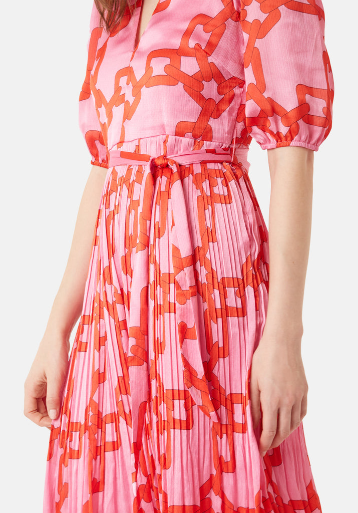 Traffic People Supine Chain Print V-neck Midi Dress in Red Close Up Image
