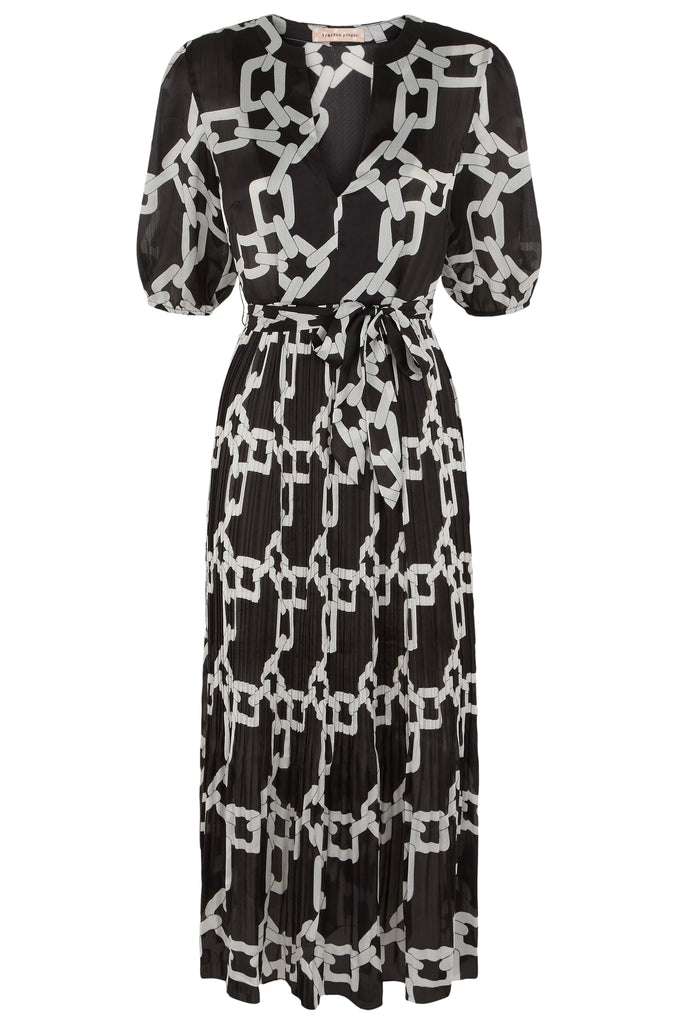 Traffic People Supine Chain Print V-neck Midi Dress in Black FlatShot Image