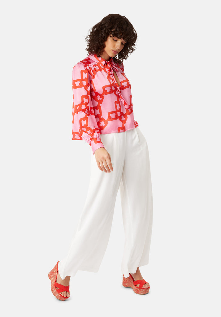 Traffic People Maisie Chain Print Chiffon Blouse in Pink and Red Close Up Image