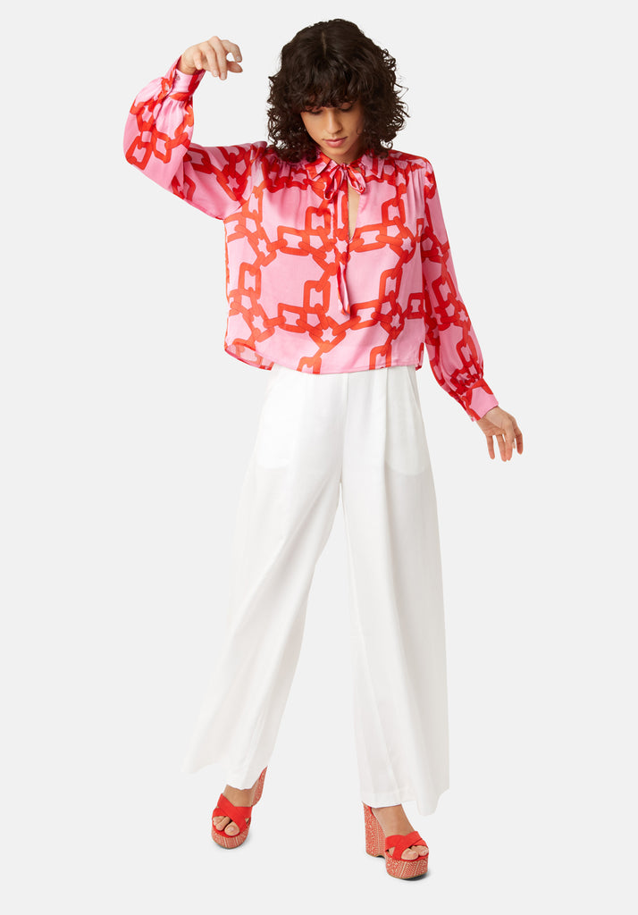 Maisie Chain Print Chiffon Blouse in Pink and Red