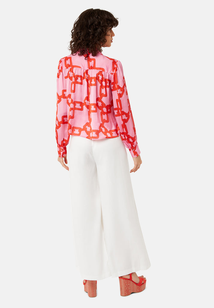 Traffic People Maisie Chain Print Chiffon Blouse in Pink and Red Side View Image