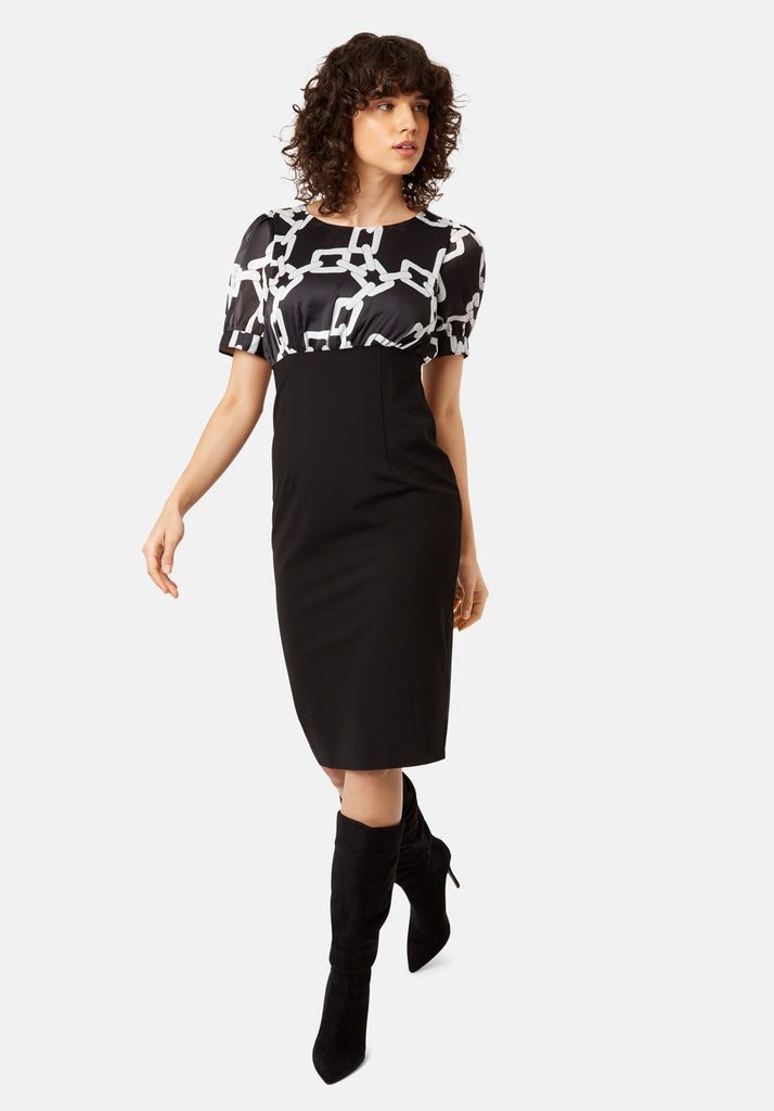Traffic People Madness Chain Print Midi Pencil Dress in Black Front View Image