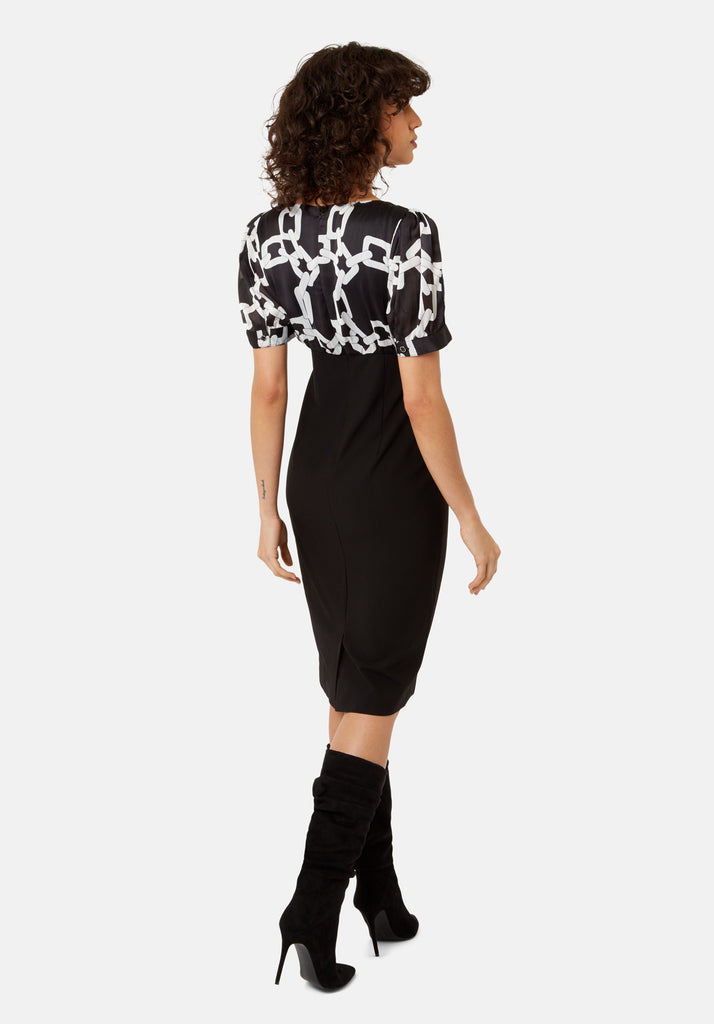 Traffic People Madness Chain Print Midi Pencil Dress in Black Side View Image