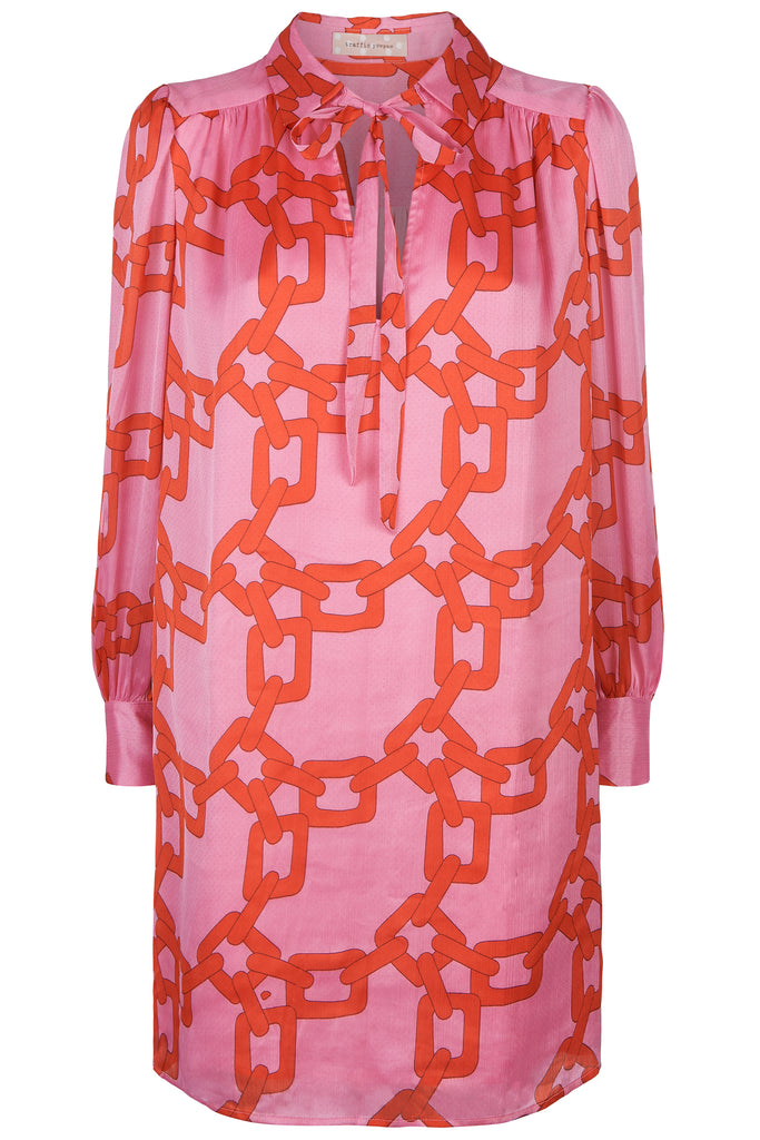 Traffic People Maisie Chain Print Shirt Dress in Red and Pink FlatShot Image
