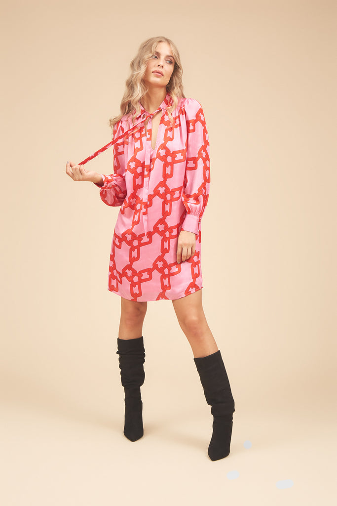 Traffic People Maisie Chain Print Shirt Dress in Red and Pink Front View Image