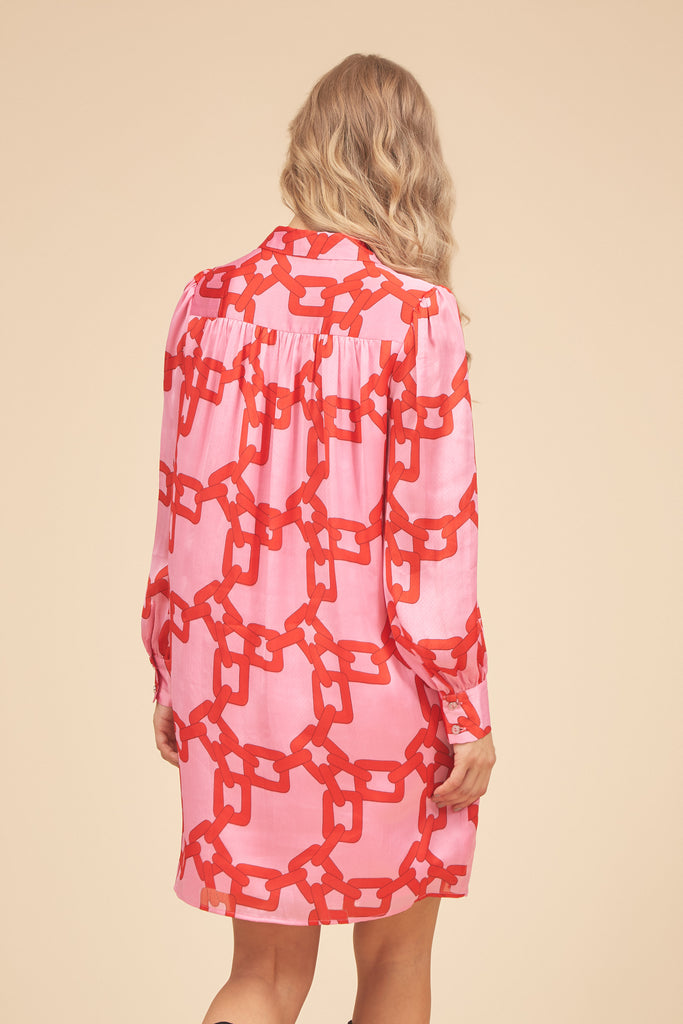 Traffic People Maisie Chain Print Shirt Dress in Red and Pink Side View Image