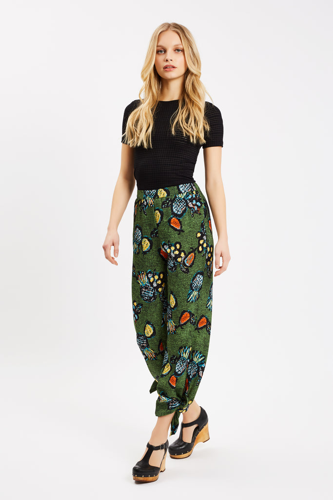 Traffic People Tropicana Two Face Printed Trouser in Green Side View Image