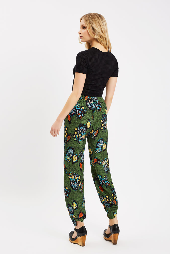 Traffic People Tropicana Two Face Printed Trouser in Green Close Up Image