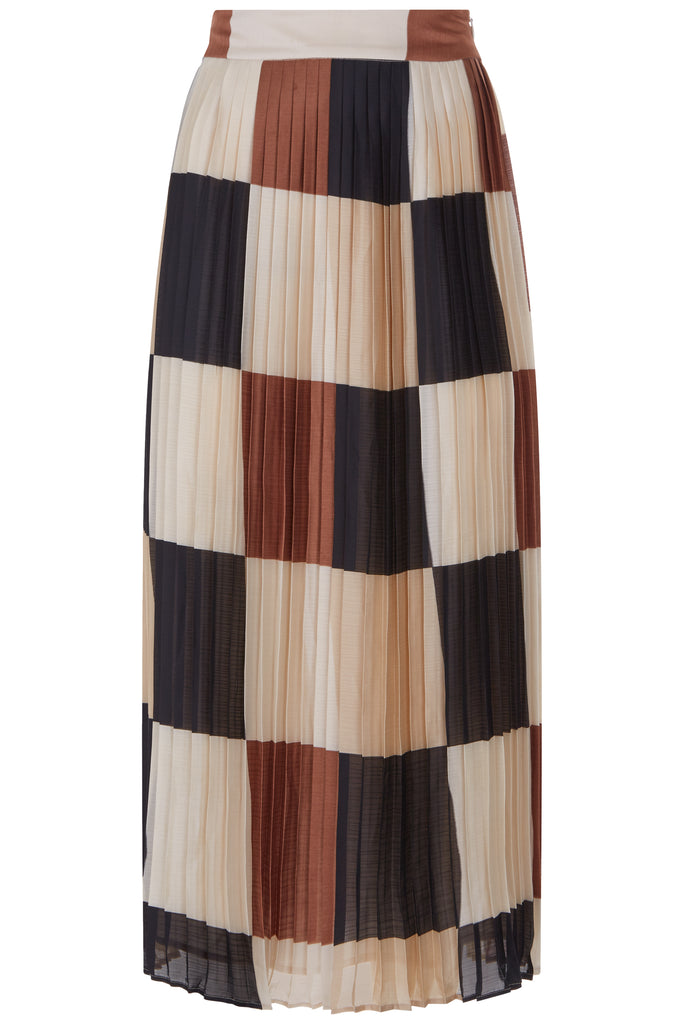 Traffic People Pleated Check Falls Midi Skirt in Brown/Cream FlatShot Image