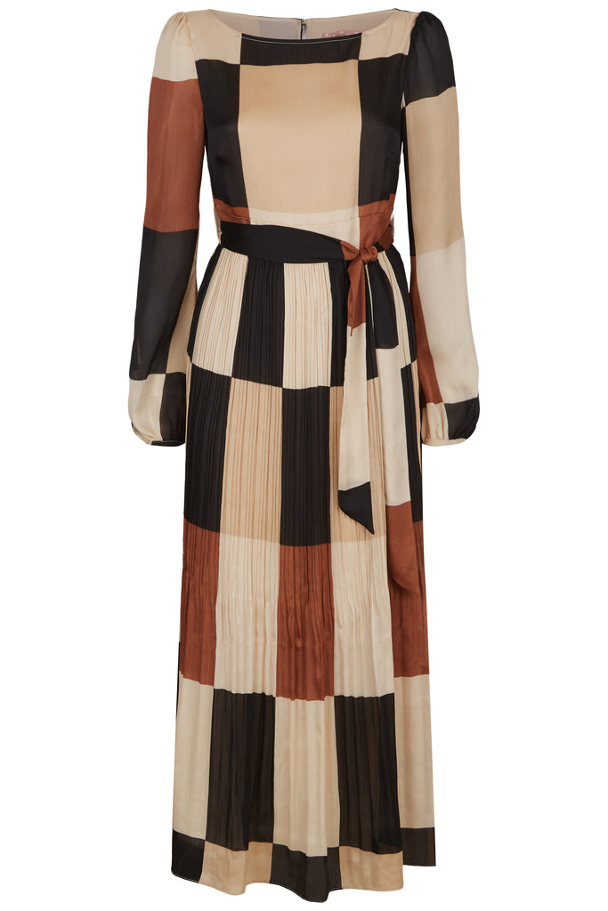 Traffic People Fathom Pleated Midi Dress in Brown/ Cream Check FlatShot Image