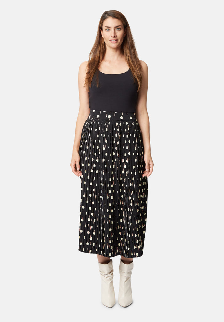 Traffic People Black Geometric Printed Pleated Midi Falls Skirt Front View Image