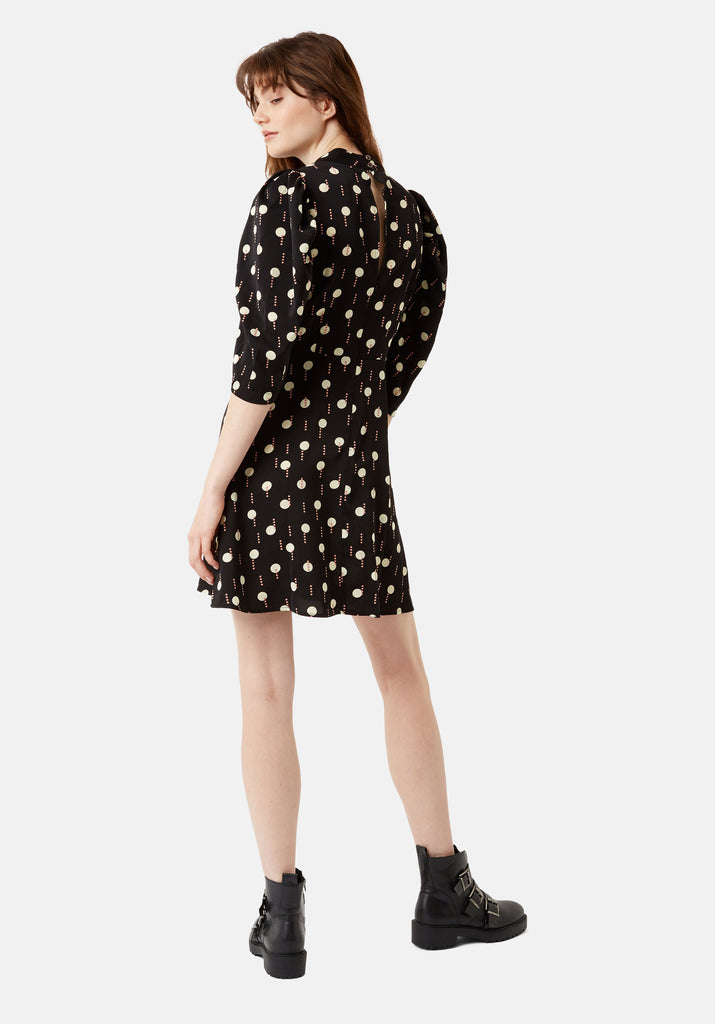 Traffic People Short Sleeve Maybe Printed Mini Dress in Black and White Side View Image