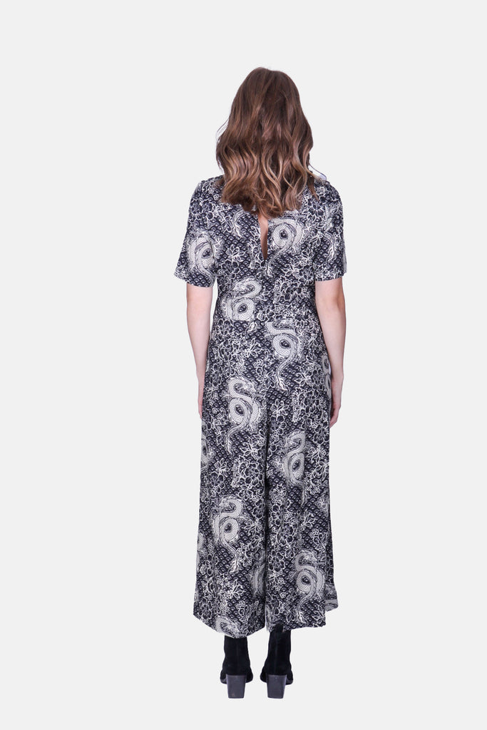 Traffic People Dragon Print Short Sleeve Bianca Jumpsuit in Black Close Up Image