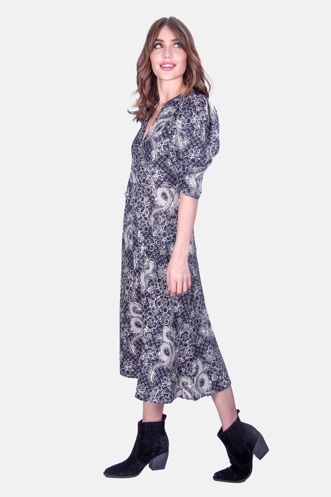 Traffic People Dragon Printed Midi Dress in Black Side View Image