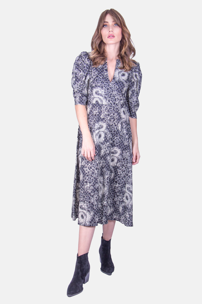 Traffic People Dragon Printed Midi Dress in Black Front View Image