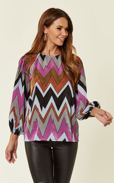 Traffic People Luna Long Sleeve ZigZag Top In Purple Front View Image