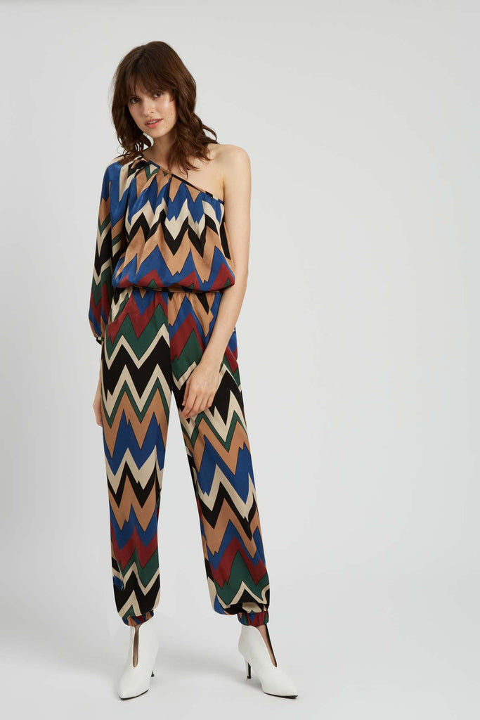 Traffic People Nolans One Shouler Jumpsuit in Brown and Green Front View Image