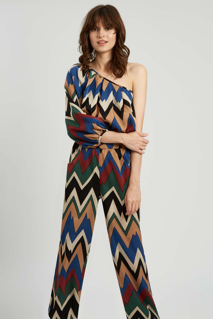 Traffic People Nolans One Shouler Jumpsuit in Brown and Green Side View Image