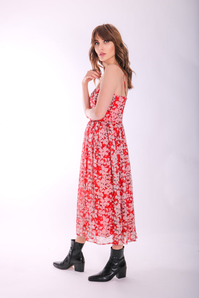 Traffic People Darcy Floral Chiffon Midi Dress in Red Side View Image