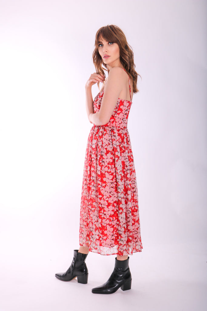 Darcy Floral Chiffon Midi Dress in Red