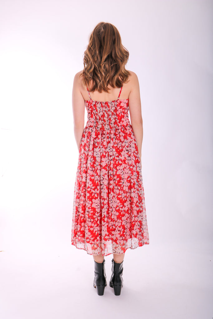 Traffic People Darcy Floral Chiffon Midi Dress in Red Back View Image