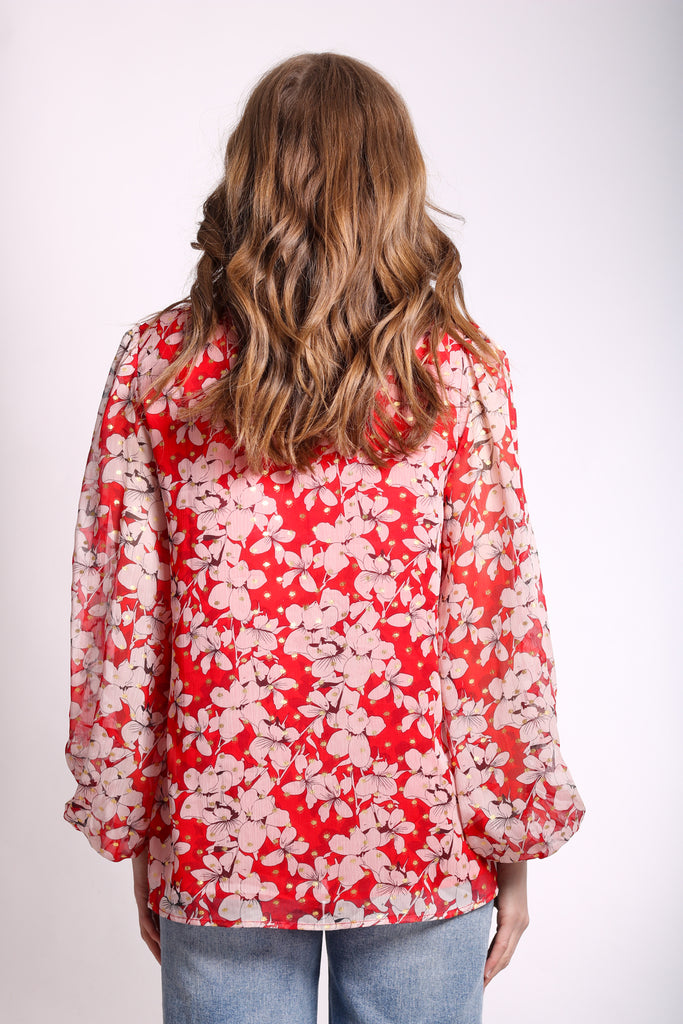 Traffic People Chiffon Mollie Blouse in Red Floral Print Back View Image