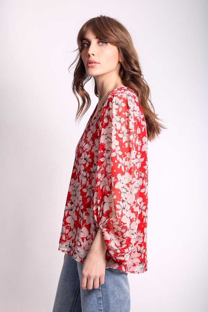 Traffic People Chiffon Mollie Blouse in Red Floral Print Side View Image