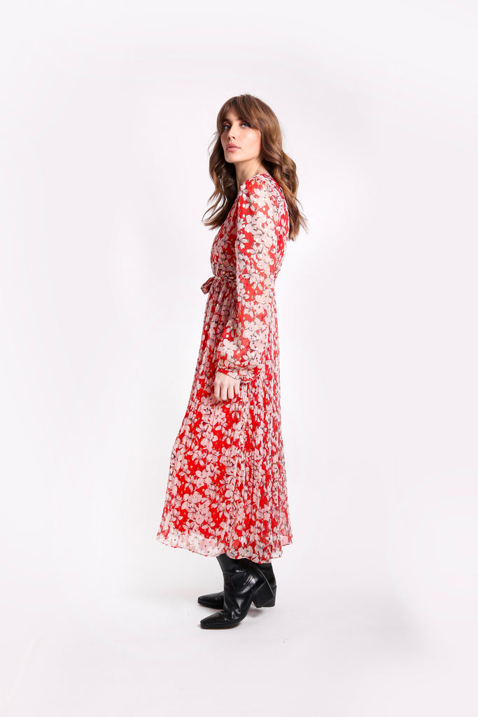 Traffic People Fathomless Midi Dress in Red Floral Print Back View Image