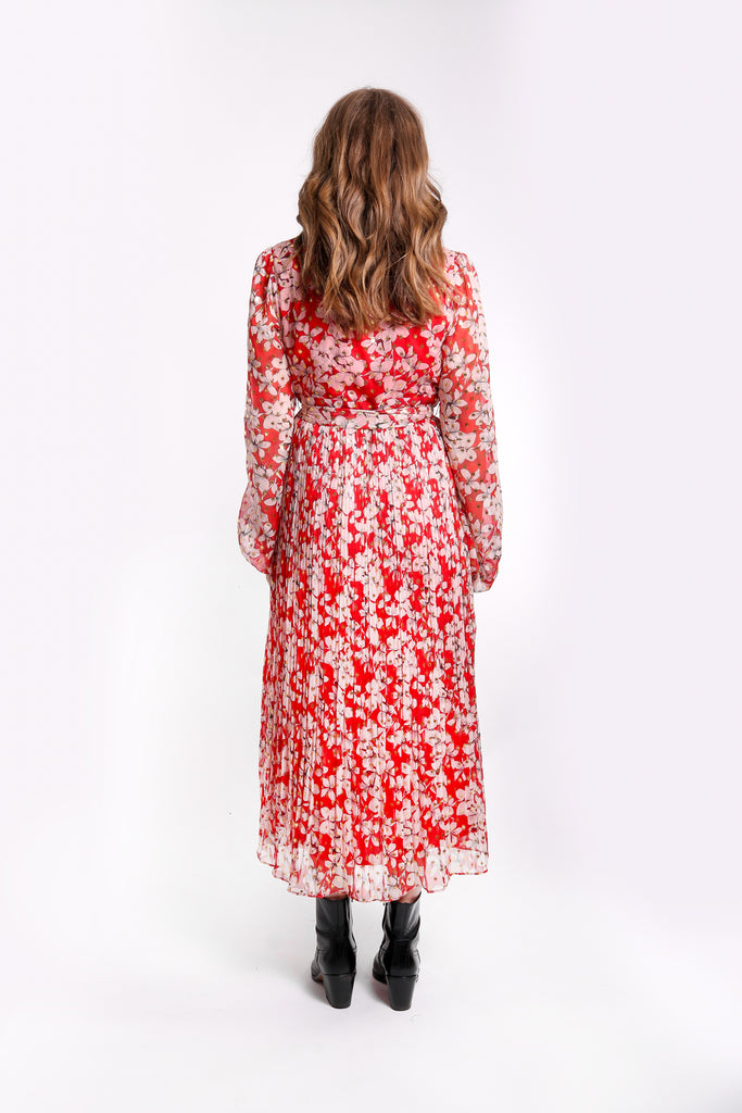 Traffic People Fathomless Midi Dress in Red Floral Print Side View Image