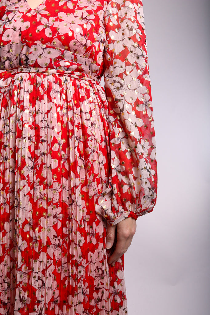 Traffic People Fathomless Midi Dress in Red Floral Print Front View Image