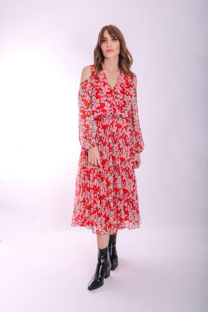 Traffic People Requim Midi Floral Dress in Red Front View Image