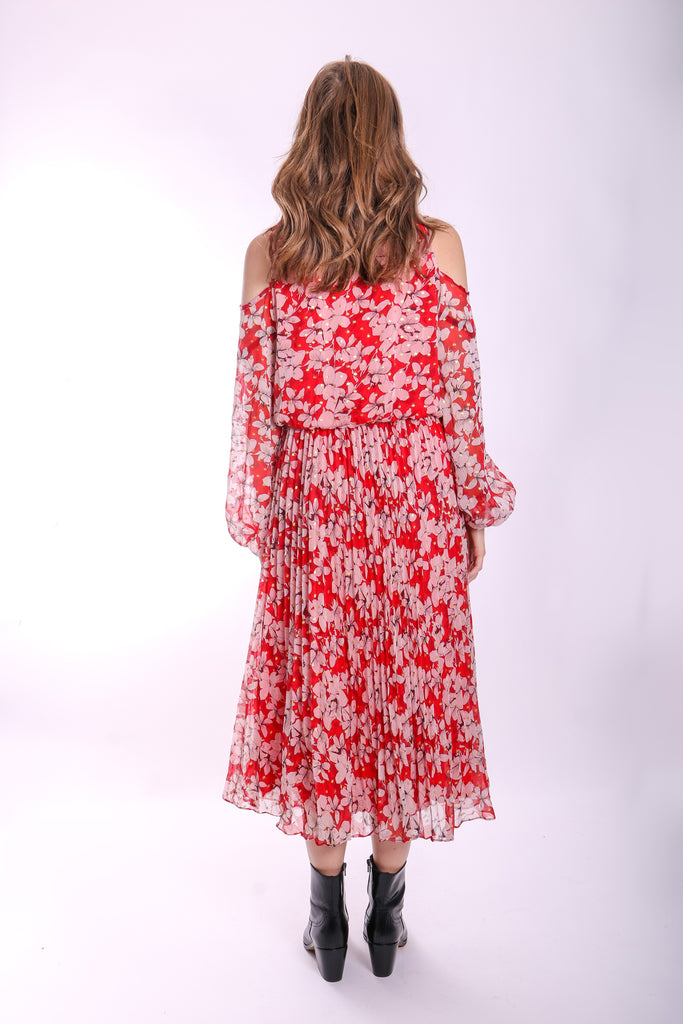 Traffic People Requim Midi Floral Dress in Red Side View Image