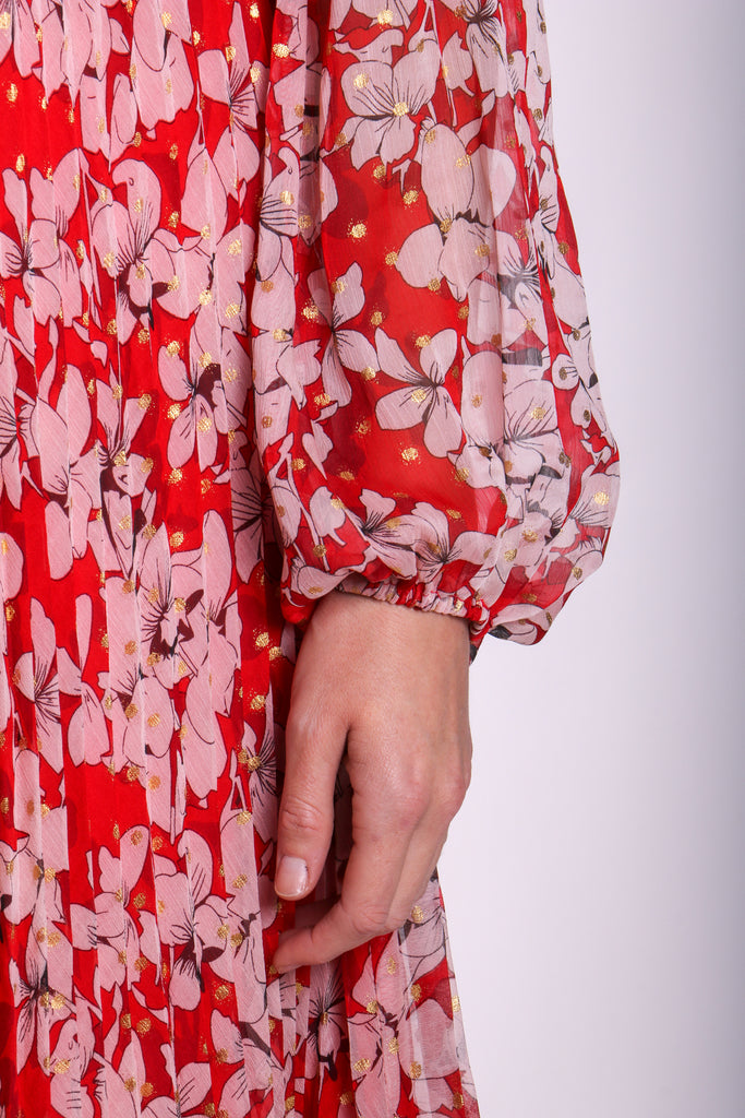 Traffic People Requim Midi Floral Dress in Red Back View Image