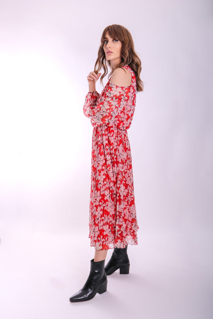 Traffic People Requim Midi Floral Dress in Red Close Up Image
