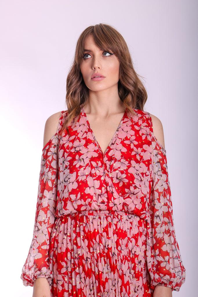 Requim Midi Floral Dress in Red