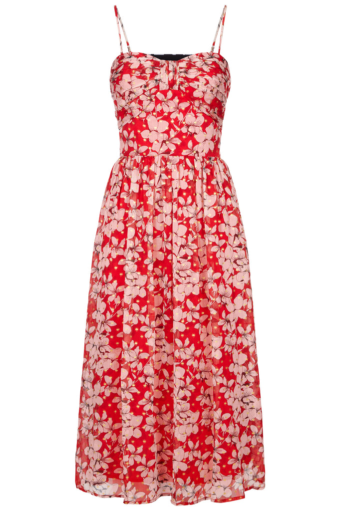 Traffic People Darcy Floral Chiffon Midi Dress in Red FlatShot Image