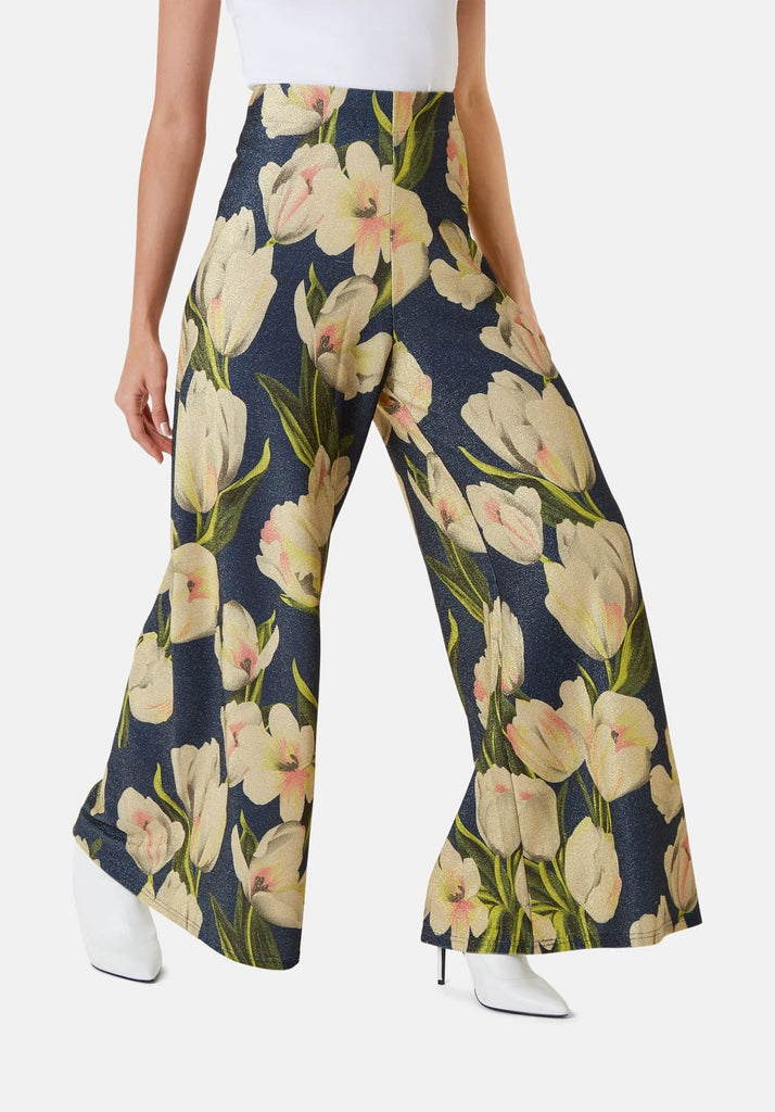 Floral Wide Leg Palazzo Printed Trousers in Blue