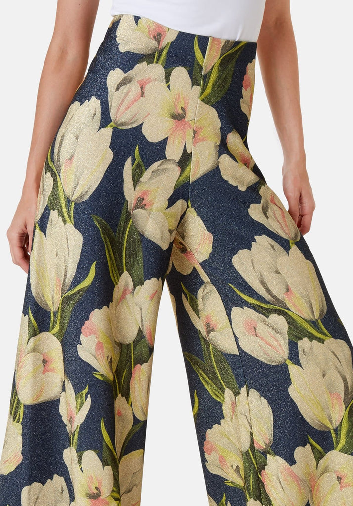 Traffic People Floral Wide Leg Palazzo Printed Trousers in Blue Close Up Image