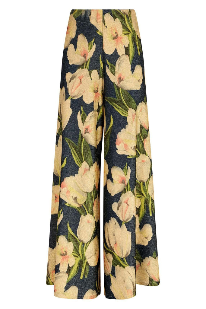 Traffic People Floral Wide Leg Palazzo Printed Trousers in Blue FlatShot Image