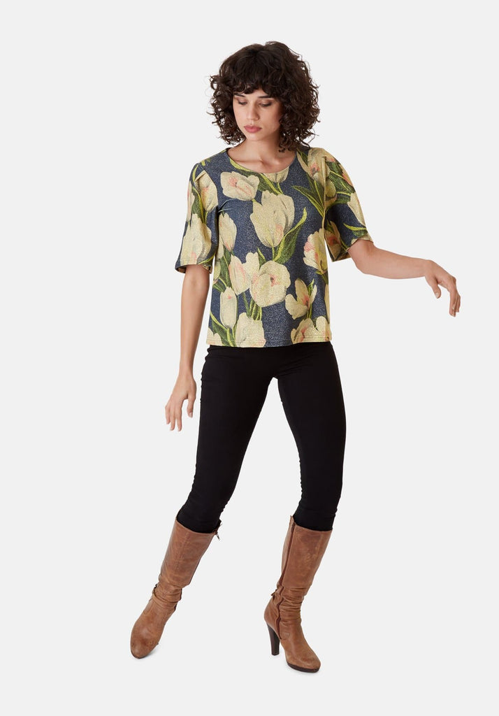 Traffic People Metallic Floral Whisper Short Sleeved Top in Blue Side View Image
