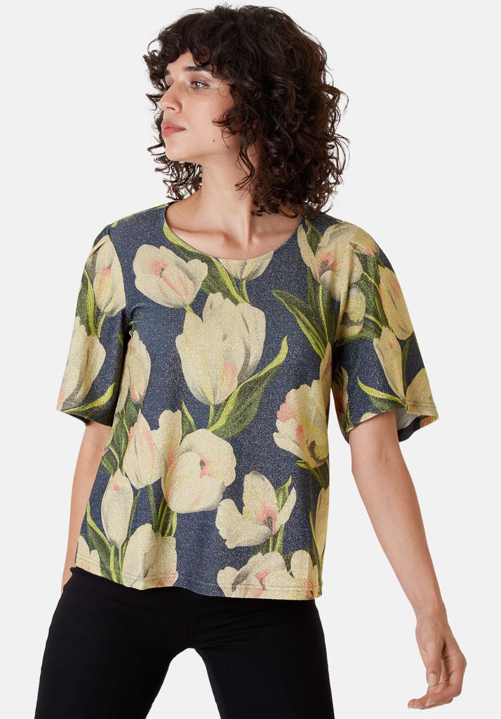 Traffic People Metallic Floral Whisper Short Sleeved Top in Blue Front View Image