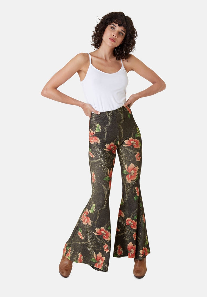 Traffic People Flaunt and Flare Metallic Floral Trouser in Brown Front View Image