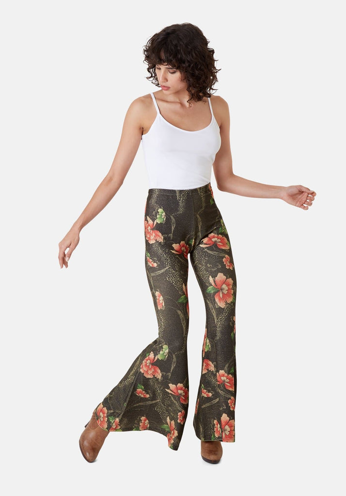 Flaunt and Flare Metallic Floral Trouser in Brown