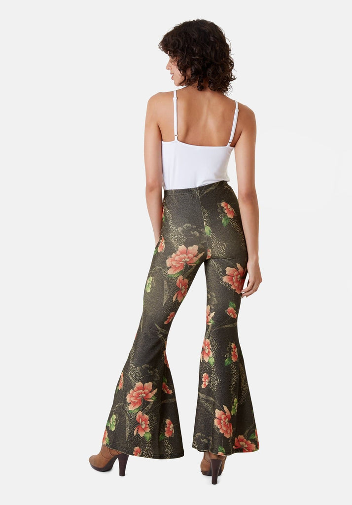 Traffic People Flaunt and Flare Metallic Floral Trouser in Brown Back View Image