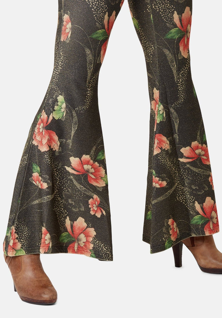 Traffic People Flaunt and Flare Metallic Floral Trouser in Brown Side View Image