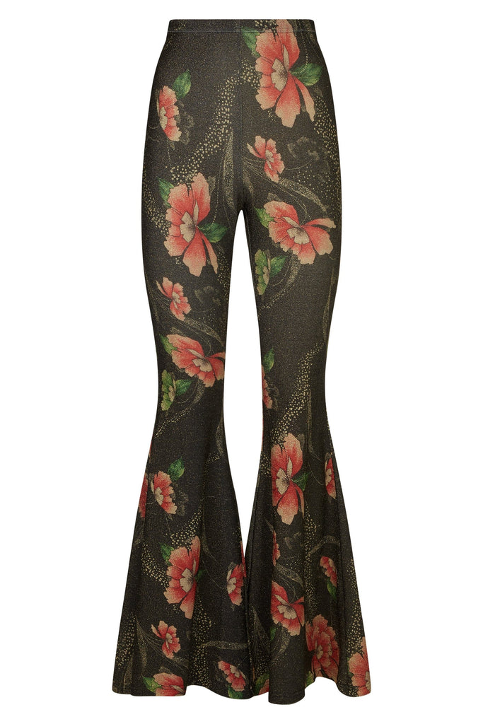 Traffic People Flaunt and Flare Metallic Floral Trouser in Brown FlatShot Image