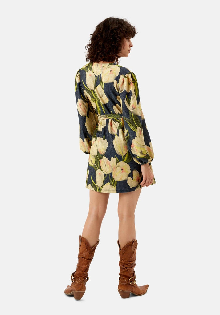Traffic People Floral Wrap up and Go Mini Dress in Blue Back View Image